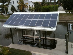 Solar Panels on a Boat Dock on Fort Myers Beach