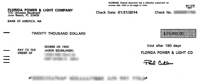 My $20,000 FPL Solar Rebate Check!