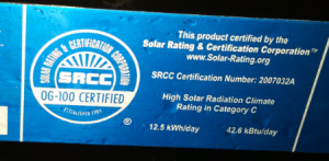Solar Water Heating Collector Label